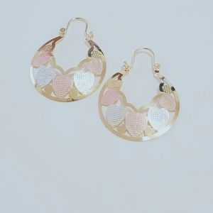 """14k Gold Plated Tri Color, Basket """"Heart"""" earrings"""